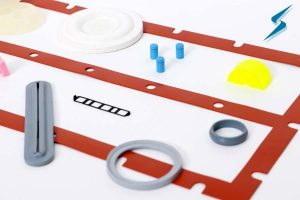 Liquid silicone rubber injection molded gaskets
