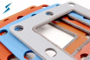 Close-up of silicone combination environmental sealing EMI shielding gaskets